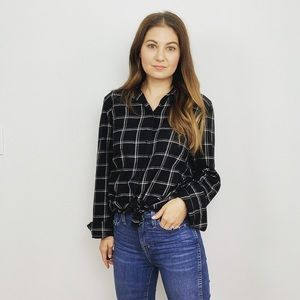 Madewell Black Plaid Classic Fit Button Down Top